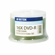 Ritek DVD-R Full White Printable Inkjet  (16x) 4.7GB 120min 50pk Spindle