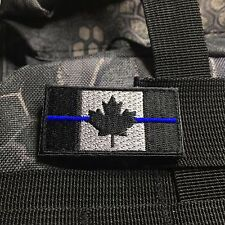 CANADA FLAG Hook Loop PATCH BLUE LINE CANADIAN MAPLE SWAT POLICE THIN BLACK OPS