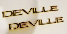 """TWO NEW! Cadillac DEVILLE 1997 1998 1999 """"DEVILLE"""" 24K GOLD PLATED EMBLEMS!!"""
