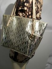 New  Michael Kors Jet Set East West Tote Bag Pale Gold Metallic Mirror Shopper