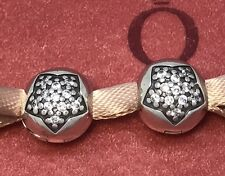 New Authentic Pandora Sterling Silver You're a Star CZ Clips (2) 791056CZ w/box