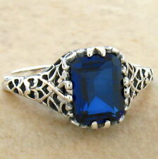 ROYAL BLUE LAB SAPPHIRE 925 STERLING SILVER ANTIQUE DESIGN RING SIZE 6.75, #718