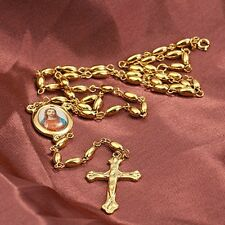 62cm 9K Gold Filled Rosary Pray Bead Jesus Cross Necklace  ,F2700