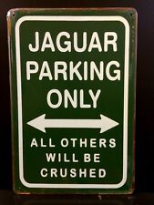 Jaguar Parking Metal Sign / Vintage Garage Wall Decor (30 x 20cm)