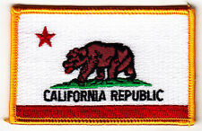 CALIFORNIA STATE FLAG, GOLD BORDER/Iron On Embroidered Patch-California Republic
