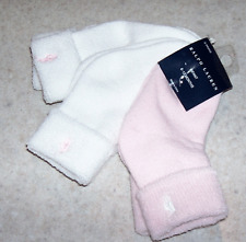 Lot 3 RALPH LAUREN Baby Girl 6-12M SOCKS NIP Roll over Cuff White Pink