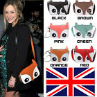 Fashion Retro Contrast Colour Owl Fox Bag PU Leather Messenger Crossbody Handbag