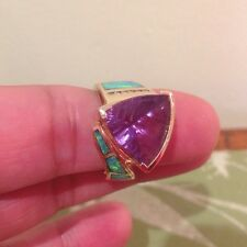 6.65 CT Amethyst 18k Gold Ring Prec Opal Diamond Modern Australian Design WOW!