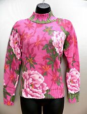 1980s Northern Isles SWEATER Wool Blend PINK FLORAL Vtg Turtleneck WOMENS SIZE S