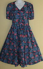 VINTAGE Laura Ashley UK Blue Fitted Floral Edwardian Modest TEA Dress 10 12 WOW