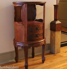 Antique Carved Wood Table End Elegant Round Accent Nightstand Storage Cabinet