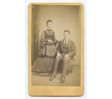 CDV STUDIO PORTRAIT YOUNG COUPLE FROM PHILADELPHIA W/ GOLD JEWELRY+TINTED CHEEKS