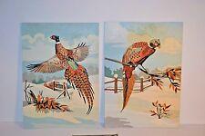 Vintage 1950s Pair of PAINT BY NUMBERS PBN Pheasant's In Flight 10 x 14 inches