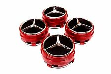 4 PIECES 75mm / 3 Inch Alloy Wheels centre caps AMG RED Fit MERCEDES A C E GLS S