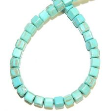 NG2974f Blue-Green Turquoise 4mm Square Cube Magnesite Gemstone Beads 15""