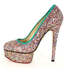 CHARLOTTE OLYMPIA $985 Multi-Color Glitter PRISCILLA Platform Pumps 37