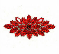 Vintage Style Red Crystal Flower Bouquet Party Prom Wedding Brooch Pin BR253