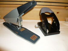 VINTAGE REXEL GIANT NO.66 THICK LARGE PAPER STAPLER made in ENGLAND+2 Hole Punch