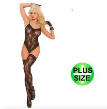 Plus Size Black Lace Teddy Body & Matching Stockings 16-18-20-22 Sexy Lingerie