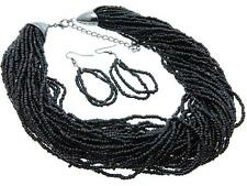 MULTI STRAND BLACK GLASS SEED BEAD NECKLACE EARRING SET