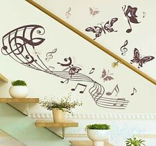 ROMANTIC MUSIC BUTTERFLIES MURAL WALL ART STICKERS WALL DECALS HOME DECORATION