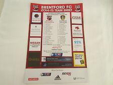 2014-15  BRENTFORD FC v LEEDS UNITED OFFICIAL COLOUR TEAM SHEET