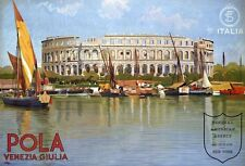 "Vintage Illustrated Travel Poster CANVAS PRINT Italy Coliseum Pola  8""X 12"""