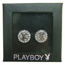 Playboy Earrings Bunny Swarovski Crystal Studs Platinum Plated Gift Box RARE HTF