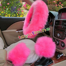 3Pcs Pink Long Plush Warm Steering Wheel Cover Woolen Handbrake Car Accessory