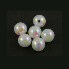 Lot of 300 Plastic Acrylic 6mm Round White AB Beads with Iridescent Finish