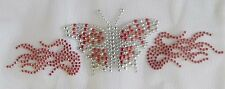 "#7532R 7-1/4"" Rhinestone/Studs Iron On Hot Fix Red Butterfly w/Flame"