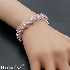 Hermosa® Xmas Sale 75% OFF 925 Sterling Silver Pink Kunzite Girls Bracelet 7.75""