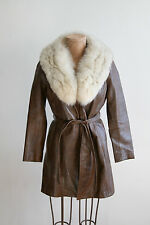 vintage brown leather and artic white fox fur collar coat