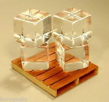 Block Ice Simulated Miniatures (4)  3/4 Inch Cubes 1/24 Scale G Scl Accessories