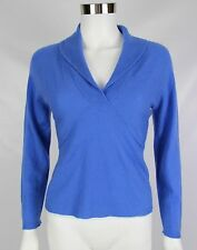 Talbots Collection 100% Cashmere Womens Petites Small Blue Shawl Collar Sweater