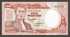 Colombia 100 Pesos 1987; UNC; P-426c; Villa de Leyva; REPLACEMENT NOTE!