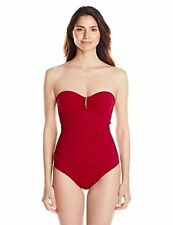 Calvin Klein Bandeau Ruched One-piece Swimsuit Sz 8 Strawberry