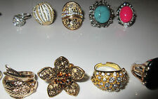 Wholesale Lot 6 Rings Fashion Mixed Cocktail Rhinestone Crystal Pearls Mix NWT