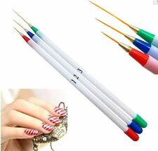 3pcs/ Set Nail Art Design Acrylic Drawing Painting Striping UV Gel Pen Brush DIY