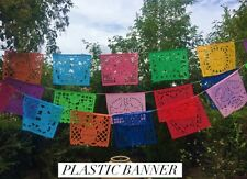 Mexican PLASTIC papel Picado Banner- Reusable Multicolor LARGE All Ocassion!