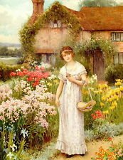 Print c19th Thatched Cottage Farm Victorian Flower Gardens Woman Picking Flowers