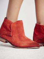 NEW Free People Summit Ankle Boots in Red Suede Size 40