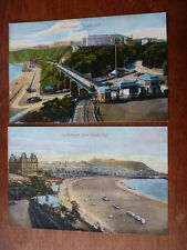 Lot24c 2x SCARBOROUGH South Cliff & From South Cliff BEACH Postcard c1910