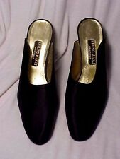 VINTAGE BRUNO MAGLI COUTURE  SATIN BLACK OPEN BACK WOMAN SHOES SIZE 10