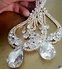 GOLD CLEAR Drag Queen CRYSTAL CHANDELIER CLIP on TEARDROP Statement EARRINGS