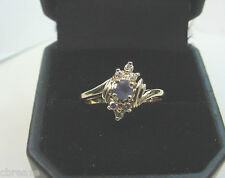 PRETTY COLORS NATURAL ALEXANDRITE .26 CT and DIAMONDS 14K GOLD RING