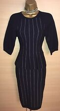 Exquisite Karen Millen Blue White Stripe Peplum Knitted Dress UK8-10