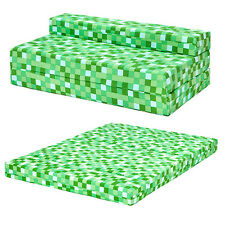 Green Pixels Kids Double Chair Bed Sofa Z Bed Seat Foam Fold Out Guest Futon
