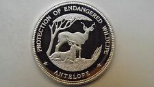 1993 Equatorial Guinea 7000 Francs Antelope Silver Proof coin