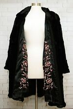 VINTAGE ONYX DYED CONEY FUR FULL LENGTH COAT W/INSIDE EMBROIDERY (SIZE MEDIUM)